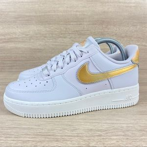 Nike Air Force 1 Metallic Grey Gold Pink Sneaker